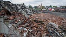 View of flattened downtown of Lac-Mégantic, Que., on Aug. 5. Cleanup is starting to happen in the town that was devastated by a trail derailment and ensuing explosion. (Michel Huneault for The Globe and Mail)