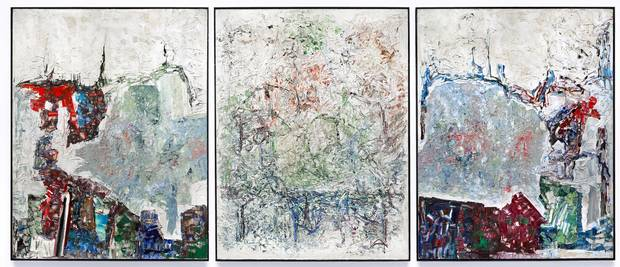 Large Triptych, by Jean-Paul Riopelle, 1964. Oil on canvas, 276.4 × 643.7 cm.