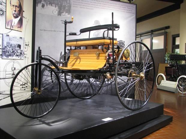 A Mercedes-built replica of the 1886 Benz Motorwagen.