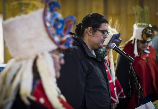 Rory Housty, a former participant in the Qqs Project Society's Koeye culture camp, during a ceremony in Bella Bella in January.
