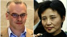 A combination photograph shows British businessman Neil Heywood (L) at an Aston Martin dealership in Beijing in May 26, 2010 and Gu Kailai, wife of China's former Chongqing Municipality Communist Party Secretary Bo Xilai, at a mourning for her father-in-law Bo Yibo, former vice-chairman of the Central Advisory Commission of the Communist Party of China, in Beijing January 17, 2007. Gu, accused of murdering Heywood admitted guilt and blamed a mental breakdown for the events that brought her to trial and toppled her once-powerful politician husband, Bo Xilai, state media said on August 10, 2012. (STRINGER/CHINA/REUTERS)