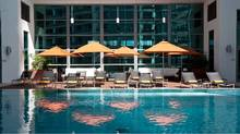 The rooftop pool follows the Marriott Marquis Miami's modern, minimalist aesthetic.