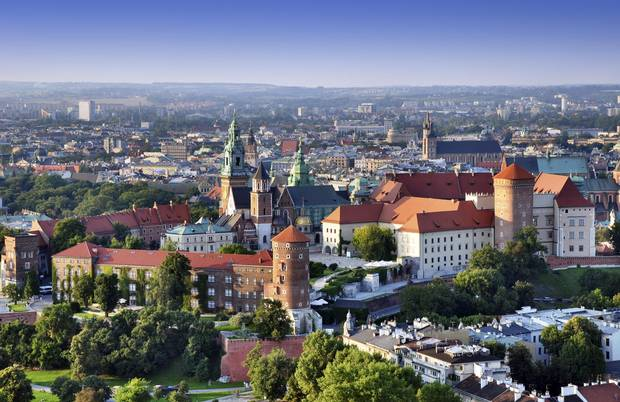 Krakow skyline with an aerial view of historic royal Wawel Castle and the city centre.