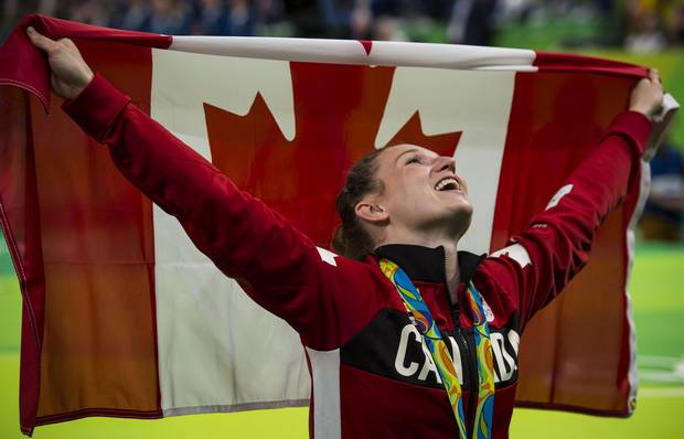 Canada's Rosie MacLennan after her gold medal ceremony in Trampoline during 2016 Olympic games in Rio August 12, 2016.
