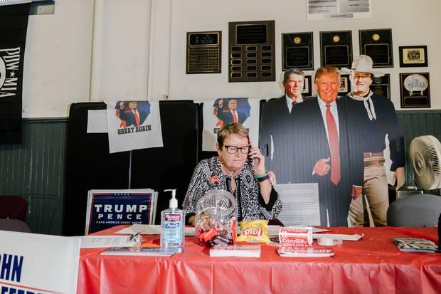 Lynette Villano calls potential voters from the volunteer-run Trump campaign headquarters in Scranton, Pa.