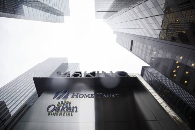 Signage for Home Trust Co., a subsidiary of Home Capital Group Inc., stands outside the company's headquarters in Toronto on May 4, 2017.