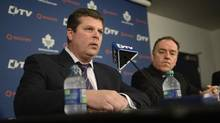 Dave Nonis, left, was introduced as the new GM of the Toronto Maple Leafs by Tom Anselmi, right, , president of Maple Leaf Sports and Entertainment, during a press conference at the Air Canada Centre on Jan 9 2013. 2013. Nonis was granted a five-year extension on July 25, 2013. Brian Burke, was fired as the Gm but will remain as a consultant to the hockey team. (Fred Lum/The Globe and Mail) (Fred Lum/The Globe and Mail)