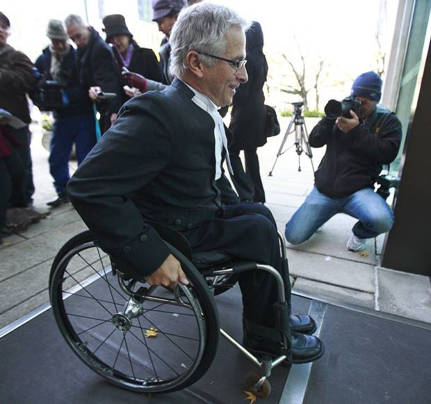 Nov. 14, 2011: Constitutional lawyer Joe Arvay arrives at B.C.'s Supreme Court in Vancouver to represent Gloria Taylor, 63, a Kelowna woman who suffered from ALS. A few years later, Mr. Arvay would be involved in another pivotal case on medically assisted dying, the Carter challenge.