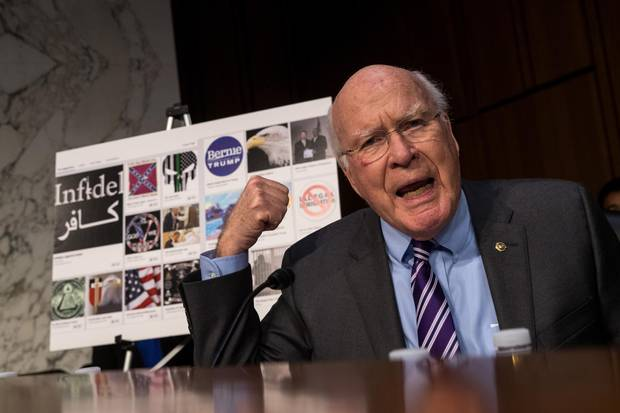 Sen. Patrick Leahy questions witnesses during a Senate Judiciary Subcommittee on Crime and Terrorism hearing titled 'Extremist Content and Russian Disinformation Online' on Capitol Hill, October 31, 2017.
