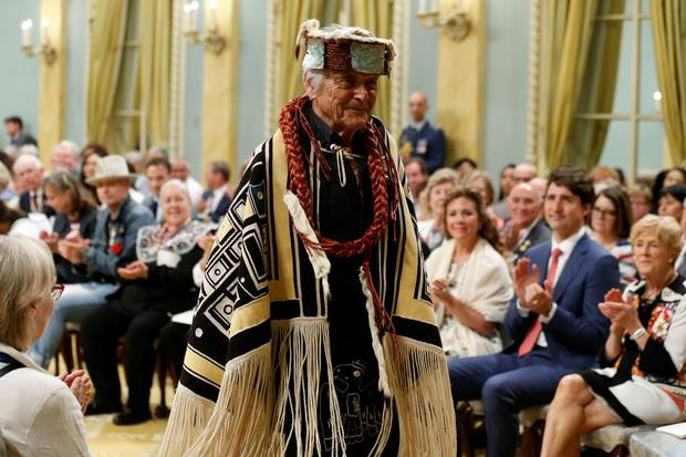 Chief Bill Cranmer takes part in a ceremony before being awarded the Sovereign's Medal for Volunteers during a ceremony at Rideau Hall on June 19, 2017.