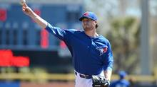 Toronto Blue Jays starting pitcher Drew Hutchison struck out seven and walked none in 4 2/3 innings against the Boston Red Sox in Dunedin, Fla., on March 14, 2014. (Jonathan Dyer/USA Today Sports)