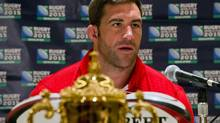 Canadian rugby player Jamie Cudmore speaks at a news conference in Toronto, Thursday, August 22, 2013, in advance of Canada's World Cup qualifier against the US. (Galit Rodan/THE CANADIAN PRESS)