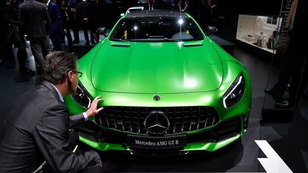 The Mercedes AMG GT R is pictured at the Geneva International Motor Show on March 7, 2017.