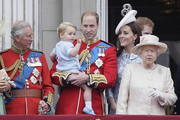 The Royal Family watches from a Buckingham Palace balcony on June 13, 2015, at the annual Trooping the Colour parade.