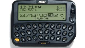 <p>1999 - RIM950: A pager with wireless Internet and e-mail. It ran on an AA battery.</p>