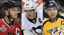 Jonathan Toews , Sidney Crosby and Shea Weber.