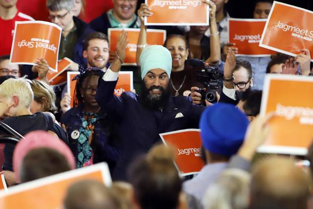 NDP Leader Jagmeet Singh is greeted by supporters at a rally in Ottawa, on Sun., Oct. 15, 2017.