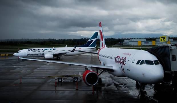 Aircraft are seen at the Vancouver International Airport.