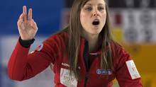 Canada's skip Rachel Homan calls the sweep as they play against host team Latvia at the world women's curling championship in Riga, Latvia on Sunday, March 17, 2013. (Andrew Vaughan/THE CANADIAN PRESS)