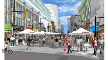 Drawing of Yonge Street closed to vehicular traffic during a street event. (KPMB ARCHITECTS, GREENBERG CONSULTANTS INC/KPMB ARCHITECTS, GREENBERG CONSULTANTS INC)