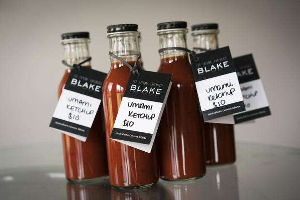 Umami Ketchup for sale at Blake restaurant in Canmore.