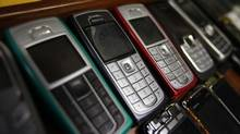 Nokia mobile phones are pictured inside a mobile phone repair service store in the western Austrian city of Innsbruck Oct. 16, 2012. (DOMINIC EBENBICHLER/REUTERS)