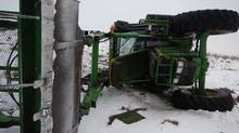 This John Deere tractor was used as a getaway vehicle in a chase that topped out at about eight kilometres an hour. (RCMP)