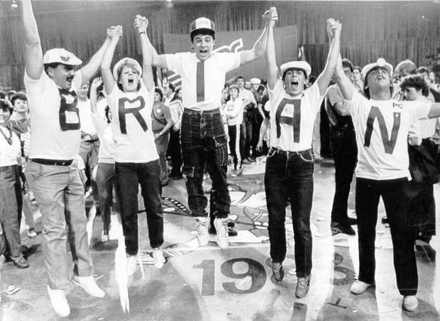 Mulroney supporters jump for joy at the party election headquarters on Sept. 4, 1984.
