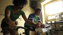 Greg Taylor, co-founder of Steam Whistle Brewing, spins at Quad with teacher Micheline Wedderburn. (Fred Lum/The Globe and Mail/Fred Lum/The Globe and Mail)