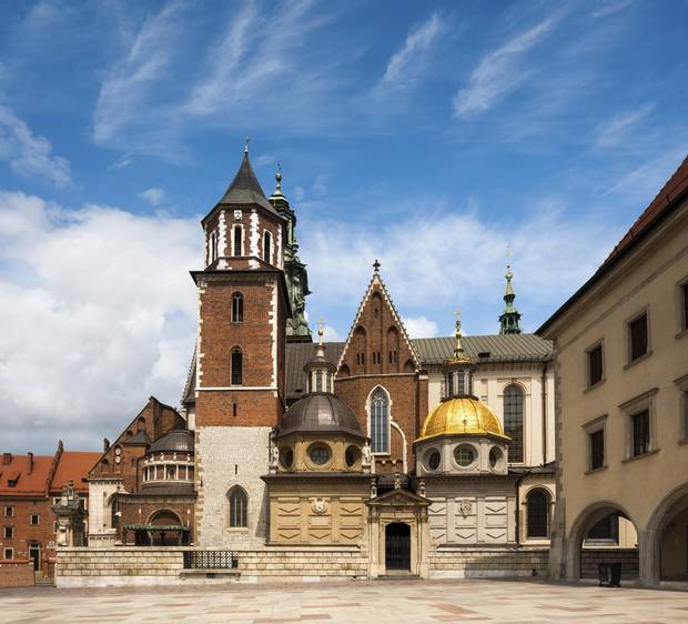 The Basilica of St. Stanislaw and Vaclav or Wawel Cathedral on Wawel Hill in Krakow, Poland.