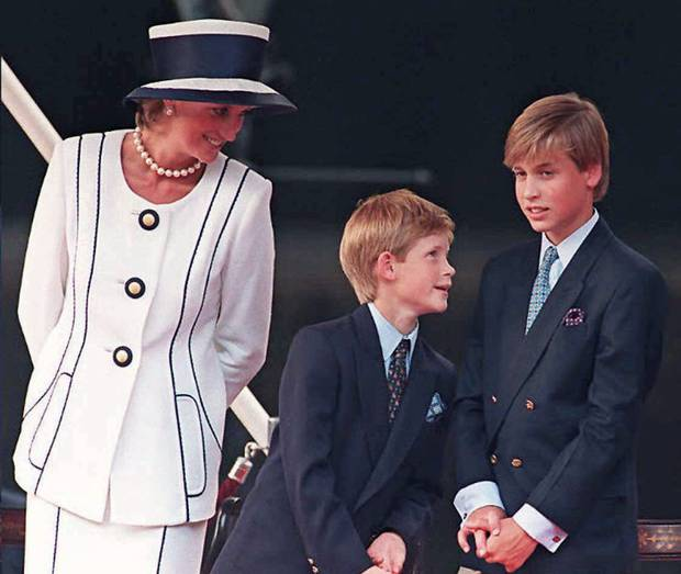 Princess Diana and her sons Prince Harry, (C) and Prince William, as they gather for the commemorations of VJ Day in London.