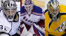 The Kings' Jonathan Quick, the Rangers' Henrik Lundqvist, and the Predators' Pekka Rinne have been nominated for the Vezina Trophy. (AP)