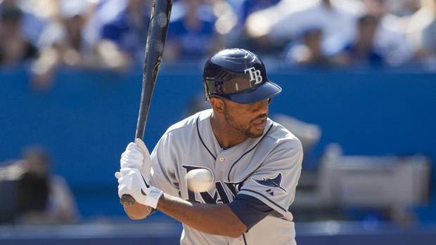 Tampa Bay Rays Ben Francisco wields his bat during the eighth inning of MLB American League baseball action against Toronto Blue Jays in Toronto on Sunday September 2, 2012. (Chris Young/THE CANADIAN PRESS)