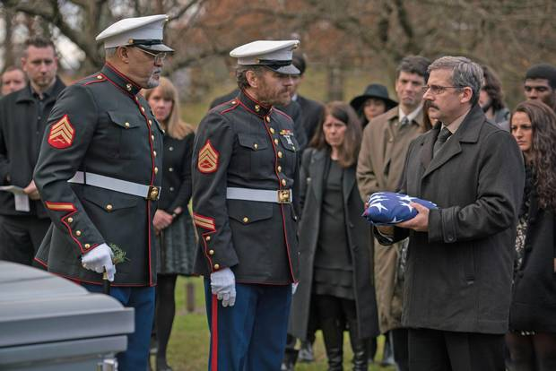 Laurence Fishburne as Mueller, Bryan Cranston as Sal and Steve Carell as Larry in Richard Linklater's Last Flag Flying.