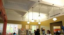 The ceiling in the main reception area of the Annette Street library, uncovered by architects Henno Sillaste and Hiro Nakashima during a 1979 renovation.