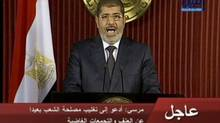 Egyptian President Mohammed Morsi delivers a televised statement in Cairo in December. Egypt's foreign reserves have plummeted from $36-billion since the eve of the uprising that swept Hosni Mubarak from power in February, 2011. (ASSOCIATED PRESS)
