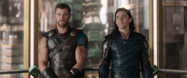Chris Hemsworth and Tom Hiddleston in Thor: Ragnarok.
