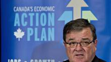 Federal Finance Minister Jim Flaherty delivers an update of economic and fiscal projections in Edmonton. (JASON FRANSON/THE CANADIAN PRESS)