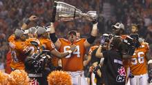 Dean Valli #54 of the BC Lions celebrate their win in the 99th Grey Cup in Vancouver. (JOHN LEHMANN/THE GLOBE AND MAIL)