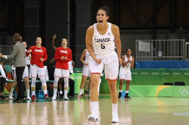 Kia Nurse #5 of Canada reacts after scoring against Serbia during the women's basketball game on Day 3 of the Rio 2016 Olympic Games at the Youth Arena on August 8, 2016 in Rio de Janeiro, Brazil.