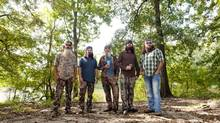 From left: Phil, Jep, Si, Jase and Willie Robertson, of the reality series Duck Dynasty, in West Monroe, La., Oct. 3, 2012. The A&E reality show about a Louisiana family that makes duck calls is growing in popularity. (JAMES PATTERSON/NYT)