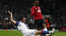 Blackburn Rovers' Bradley Orr makes a tackle on Manchester United's Patrice Evra (JON SUPER/The Associated Press)
