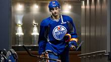 Edmonton Oilers forward Jordan Eberle walks out fo the dresing room before Oilers practice November 30, 2011. (Jeff Franson For The Globe and Mail)