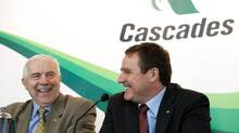 President and CEO Alain Lemaire Cascades with his successor Mario Plourde at a press conference in Montreal March 26, 2013. (Cascades)