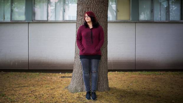 Gwin Wilcox, 17, is pictured outside of her high school in Vancouver.