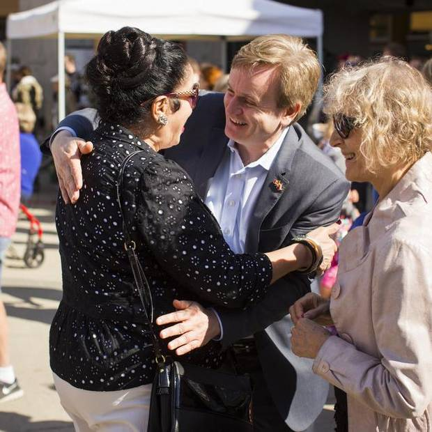 Andrew Saxton, Conservative candidate for North Vancouver speaks to people during a Polish Festival in North Vancouver, British Columbia on Sept. 6, 2015.