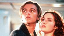 Leonardo DiCaprio, in character as Jack, holds Kate Winslet, as Rose, as the ship sinks in Titanic. (MERIE W. WALLACE/MERIE W. WALLACE/AP)