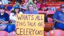 Fan holds up a sign in protest of the baseball strike during a game between the Seattle Mariners and the Oakland Athletics at the Oakland Coliseum on August 4, 1994 in Oakland, California. The Mariners won the game 8-1. (Photo by Otto Greule Jr/Getty Images) (Otto Greule Jr/Getty Images)
