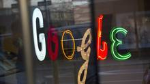 The Google signage is seen at the company's headquarters in New York January 8, 2013. Google has launched a new service that could help users manage their accounts after they die. (Andrew Kelly/Reuters)