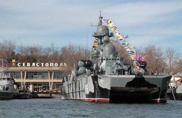 A Russian warship is seen in Sevastopol, Crimea, on Feb. 23, 2016.